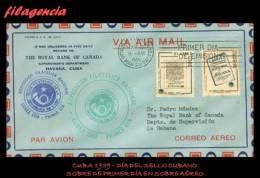 PIEZAS. CUBA SPD-FDC. 1959-03 DÍA DEL SELLO CUBANO. SOBRE PRIMER DÍA CIRCULADO EN SOBRE DE CORREO AÉREO - FDC