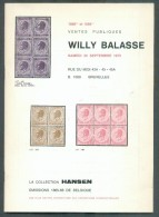 VENTE PUBLIQUE WILLY BALASSE 1098 Et 1099, Collection HANSEN, 20 Septembre 1975, Bruxelles, 68 Pages. - Catalogues De Maisons De Vente