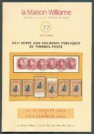 VENTE PUBLIQUE WILLIAME 221, Collection OBLITERATIONS DISTRIBUTIONS SUR MEDAILLONS, 13 Juillet 2002, Bruxelles, 60 Pages - Catalogues De Maisons De Vente