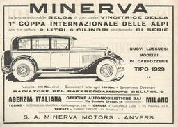 PUBBLICITA' MINERVA MOTORS ANVERS VINCITRICE DELA 1° COPPA INTERN. DELLE ALPI RITAGLIATA  DA GIORNALE 1928 - Publicités