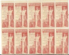 BELGIQUE:10 VIGNETTES EXPO BRUXELLES 1897 - 1894-1896 Ausstellungen