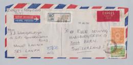 Sri Lanka 1991-07-03 MT Lavinia Exprès Flugpost Brief Nach Bern - Sri Lanka (Ceylan) (1948-...)