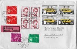 MISCHFRANKATUR → Charge-Brief Mit Vielen CH-Marken, Abstempelung St.Gallen (Eildienst) 05.03.1952 - Interi Postali