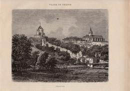 1874 - Gravure Sur Bois - Provins (Seine-et-Marne) - Vue Générale - FRANCO DE PORT - Estampes & Gravures