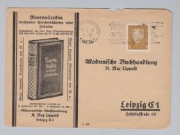 """DR 1930-02-14 Fürth (Bayern) 3Pf Perfin Brief """"RML"""" Buchhandlung R. Max Lippold - Deutschland"""