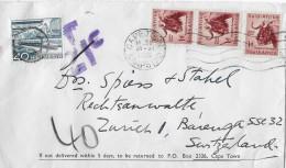 CAPE TOWN / KAAPSTAD → Brief Von Kaapstad Nach Zürich ►Strafporto SBK 305◄ - Afrique Du Sud (1961-...)