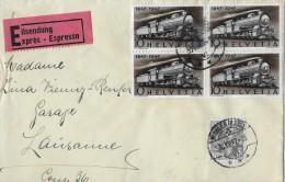 WOHLEN → Eilsendung Von Wohlen Nach Lausanne (Telegraphen-Stempel) ►SBK 278 Im 4er Block & 209z◄ - Ganzsachen