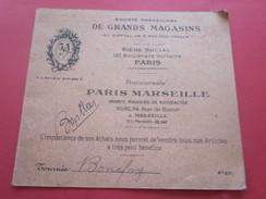 Carte  Société Marseillaise De Grands Magasins Succursale Paris-Marseille  Rue De Rome Conditions Versement Crédits ...d - Publicités