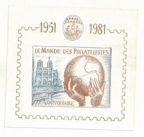 BLOC SOUVENIR GOMME ET NUMEROTE  LE MONDE DES PHILATELISTES 1981 - Blocs & Feuillets
