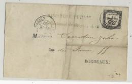 1873 - TAXE De 25 (RARE) Sur LETTRE INCOMPLETE De BORDEAUX - 1849-1876: Classic Period
