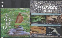 GAMBIA, 2014 , MNH, SNAKES, COBRA, MAMBA, ADDER, SHEETLET +S/SHEET, LOVELY PHOTOS! - Serpents