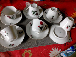 MITTERTEICH BAVARIA 6 Tasses à Café Thé +sous Tasses Porcelaine Striée - Fleurs Roses Rouges - Mitterteich (DEU)