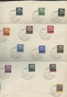 """1941 Deutsches Reich Mi.-série Complète Sur Papier Libre GESTEMPELT """"Paul Von Hindenburg Im Medaillon + Croix Gammée - France"""