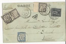 1901 - SAGE 1c Sur CARTE De BESANCON (DOUBS) Pour EPINAL (VOSGES) Avec TAXE - Marcophilie (Lettres)