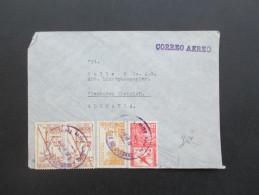 Bolivien 1938 Luftpostbrief / Correo Aero. Flugpostmarken Nr. 283 / 289 Und 290 Mischfrankatur - Bolivien
