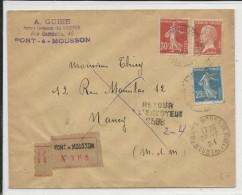 1924 - TRICLORE SEMEUSE + PASTEUR / ENVELOPPE RECOMMANDEE De PONT à MOUSSON (MEURTHE ET MOSELLE) Pour NANCY Avec RETOUR - Marcophilie (Lettres)