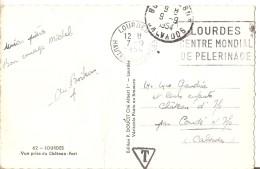 Taxe Et Flamme Sur Cp Lourdes 1954 - Taxes