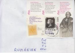 AUSTRIA : PENNY BLACK 175 YEARS On Cover Circulated To ROMANIA - Envoi Enregistre! Registered Shipping! - Francobolli Su Francobolli
