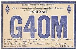CARTE - RADIO - QSL - ANGLETERRE - ENGLAND - WASFORD - TAUNTON - 1948 - - Radio Amateur