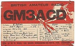 CARTE - RADIO - QSL - ANGLETERRE - ENGLAND - KINCARDINE - FIFE - SCOTLAND - 1947 - - Radio Amateur