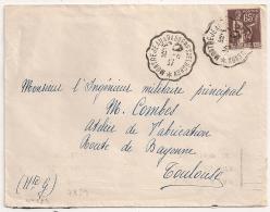 Convoyeur De Ligne  MONTREJEAU A BAGNIERES De LUCHONsur Enveloppe Avec 65C Type PAIX. 1937. - 1921-1960: Modern Tijdperk