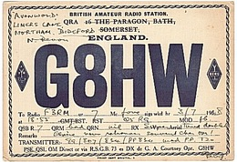 CARTE - RADIO - QSL - ANGLETERRE - ENGLAND - BATH - SOMERSET - BIDEFORD - - Radio Amateur