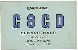 CARTE - RADIO - QSL - ANGLETERRE - ENGLAND - SUTTON - SURREY - - Radio Amateur