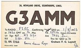 CARTE - RADIO - QSL - ANGLETERRE - ENGLAND - SCUNTHORPE - LINCS - - Radio Amateur