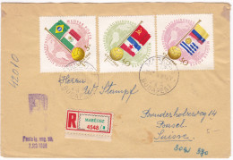 Football World Cup 1962 Chile Hungary Stamps On Registered Letter, Customs Office Cancel - Coupe Du Monde