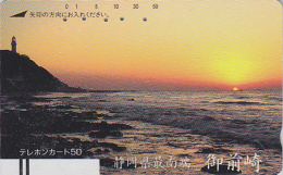 Télécarte Ancienne Japon / 110-2967 - Coucher De Soleil & PHARE -  SUNSET & LIGHTHOUSE Japan Front Bar Phonecard / A - Phares