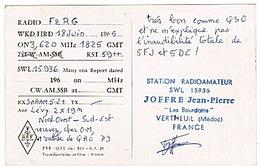 CARTE - RADIO - QSL - VERTHEUIL - - Radio Amateur