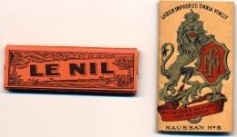 2 PAPIERS À CIGARETTES - Modèles Anciens Jamais Utilisés - LE NIL - Papier NAUSSAN N° 5 - Zigarettenzubehör
