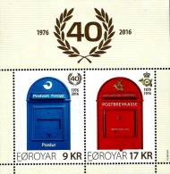 Faroe Islands - 2016 - 40th Anniversary Of Faroe Post - Mint Souvenir Sheet - Faeroër
