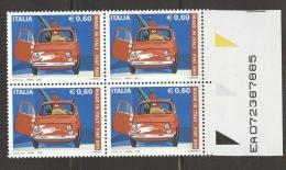 A753  QUARTINA MADE IN ITALY FIAT 500  2007 CON MATRICE MATRICOLA NUMERI DI SERIE NUOVI - 6. 1946-.. Repubblica