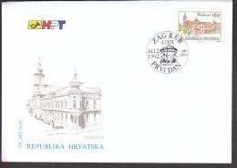 Croatia Zagreb 1992 / Town Vinkovci / Church, Monument / FDC - Croatie