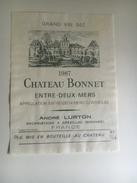 845 - Château Bonnet 2 étiquettes 1986 & 1987 - Bordeaux