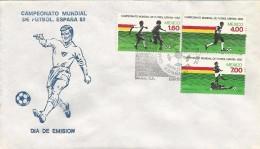 B)1982 MEXICO, FOOTBALL PLAYERS, PLAY, SPAIN,  WORLD CHAMPIONSHIP FOOTBALL  SPAIN, BLOCK OF 3, FDC - Mexico