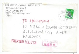 Japan Letter Via Macedonia.nice Stamps Definitive Issue.birds - 1926-89 Empereur Hirohito (Ere Showa)