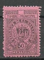 EL SALVADOR 1917 Timbre Municipal Local OPT MNH - Salvador