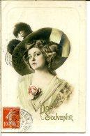 Chapeau - Jeune Femme - Capeline Feutre Garnie Plumes Autruche - Mention Doux Souvenir Embossée Dorée - Femmes