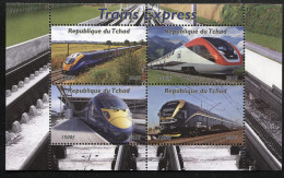 TRAINS,**NEW ISSUE**,Trains Exprerss  SOUVENIR SHEET Of 4 STAMPS,MNH,MINT,#DA192 - Trains