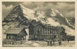 SWITZERLAND - RPPC -SCHEIDEGG MIT EIGER UND MUNCH - PEOPLE SNOW SKIING - 1917 - V/F VINTAGE ORIGINAL RPPC - BE Berne