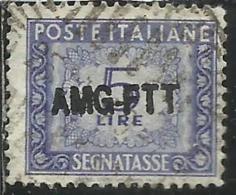 TRIESTE A 1949 1954 AMG-FTT SOPRASTAMPATO D´ITALIA ITALY OVERPRINTED SEGNATASSE TAXES TASSE LIRE 5 USATO USED - Portomarken