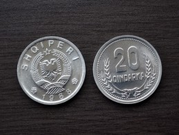 Albania 20 Qindarka 1988 KM#65 UNC COIN Europe - Albanie