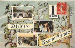 1er Janvier - Dijon - Bonne Année - Multivues - Carte LL - New Year
