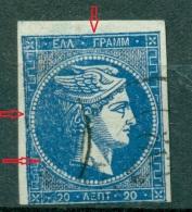 GREECE LARGE HERMES HEAD 20 L. 1862 - 1867 HELLAS 19  Position 1 - 1861-86 Large Hermes Heads