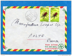 MARCOPHILIE-lettre-congo-cad-DONGOU 1973-2-stamps N°274 Metopodontus-insect- Pour Françe - Congo - Brazzaville