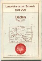 Landeskarte Der Schweiz 1:25'000 - Baden Blatt 1070 - Topographische Karte - Eidgenössische Landestopographie Wabern-Ber - Topographische Karten