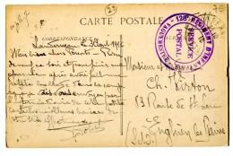Ref 199 - OBLITERATION MILITAIRE 128è REGIMENT D'INFANTERIE - VAGUEMESTRE - SERVICE POSTAL - LANDERNEAU - 1916 - Postmark Collection (Covers)