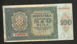 CROATIA - NATIONAL BANK -  100 KUNA (ZAGREB - 1941) - WWII - Croazia